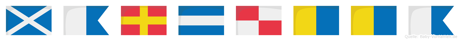 Marjukka im Flaggenalphabet