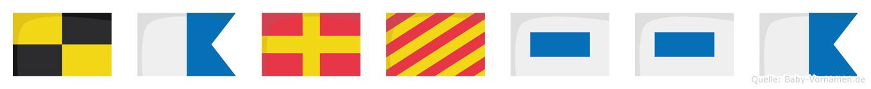 Laryssa im Flaggenalphabet