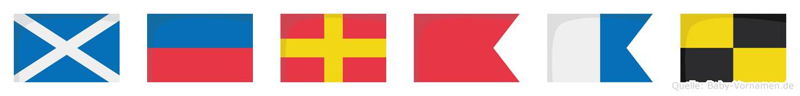 Merbal im Flaggenalphabet