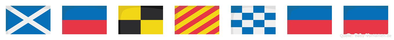 Melynee im Flaggenalphabet