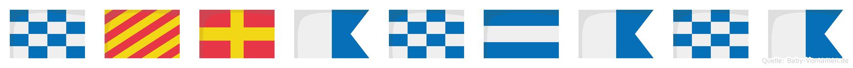 Nyranjana im Flaggenalphabet