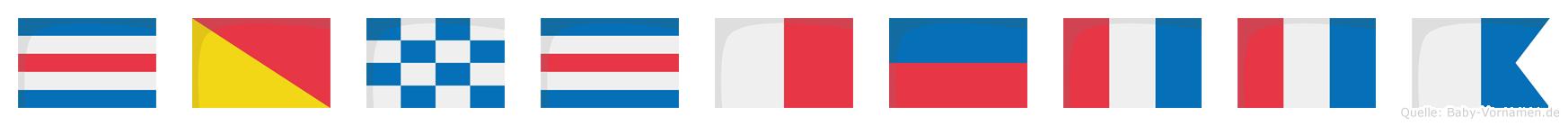 Conchetta im Flaggenalphabet