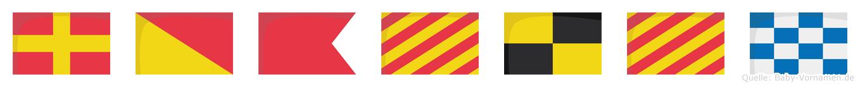 Robylyn im Flaggenalphabet