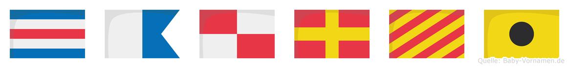 Cauryi im Flaggenalphabet