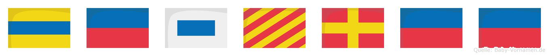 Desyree im Flaggenalphabet