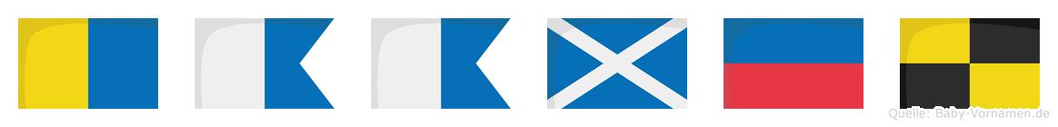 Kaamel im Flaggenalphabet