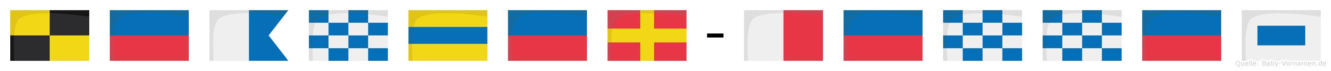Leander-Hennes im Flaggenalphabet