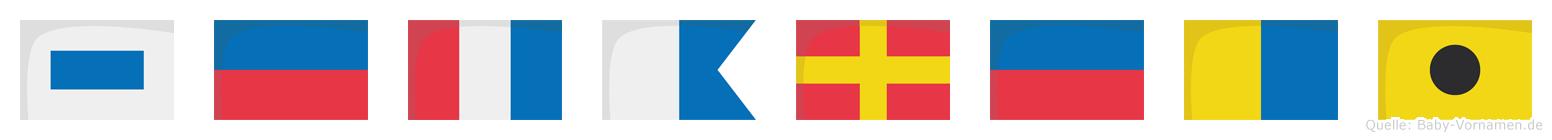 Setareki im Flaggenalphabet