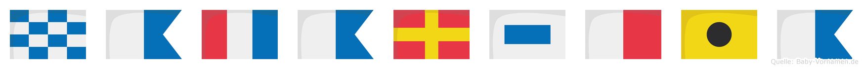Natarshia im Flaggenalphabet