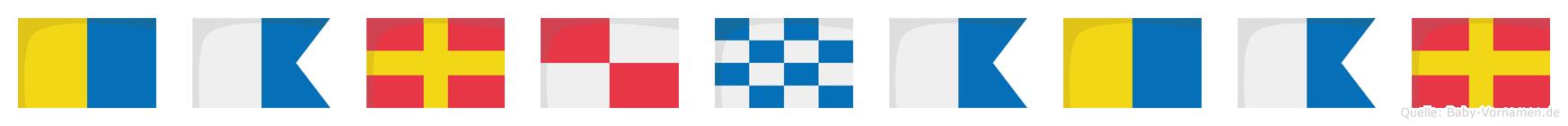 Karunakar im Flaggenalphabet