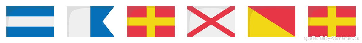 Jarvor im Flaggenalphabet