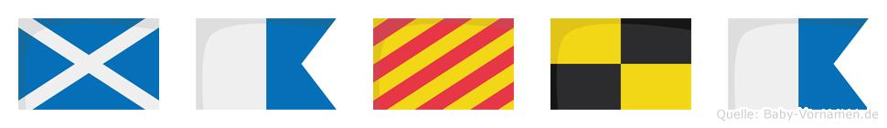 Mayla im Flaggenalphabet