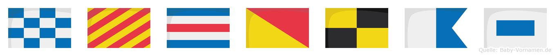Nycolas im Flaggenalphabet