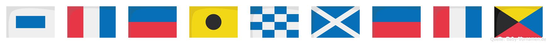 Steinmetz im Flaggenalphabet