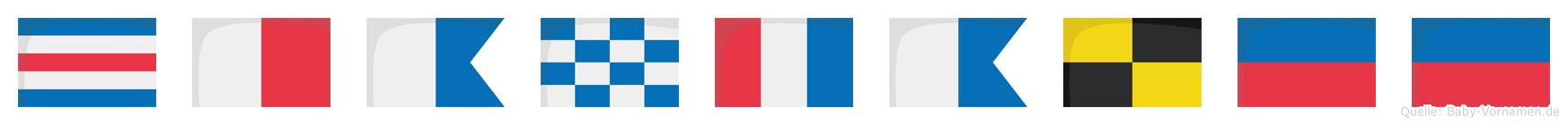 Chantalee im Flaggenalphabet