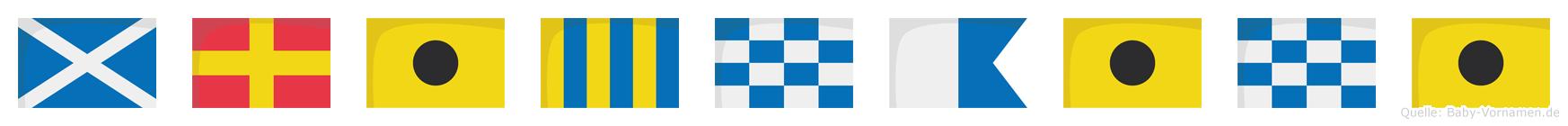 Mrignaini im Flaggenalphabet
