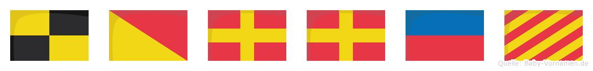 Lorrey im Flaggenalphabet