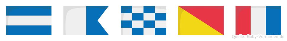 Janot im Flaggenalphabet