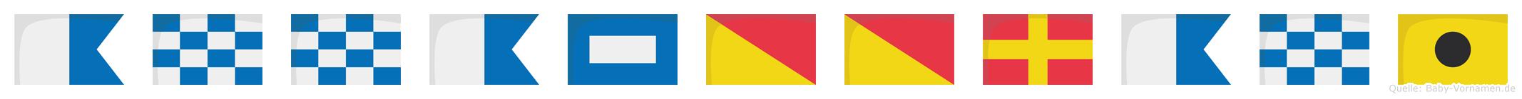 Annapoorani im Flaggenalphabet