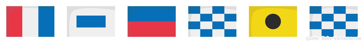 Tsenin im Flaggenalphabet