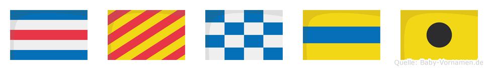 Cyndi im Flaggenalphabet