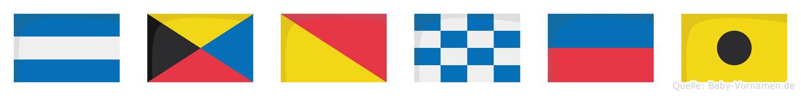 Jzonei im Flaggenalphabet