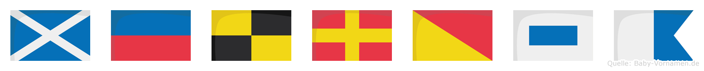 Melrosa im Flaggenalphabet