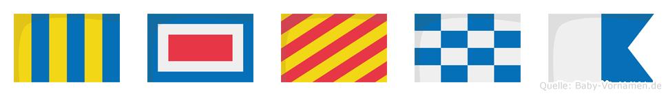 Gwyna im Flaggenalphabet