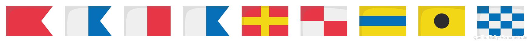 Baharudin im Flaggenalphabet
