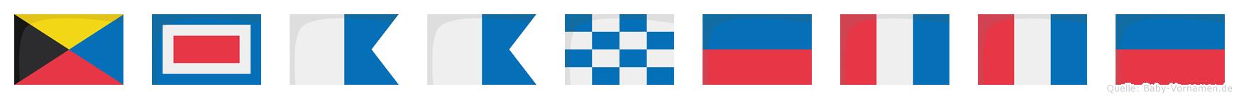 Zwaanette im Flaggenalphabet