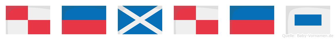 Ümüs im Flaggenalphabet