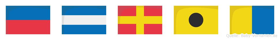 Ejrik im Flaggenalphabet