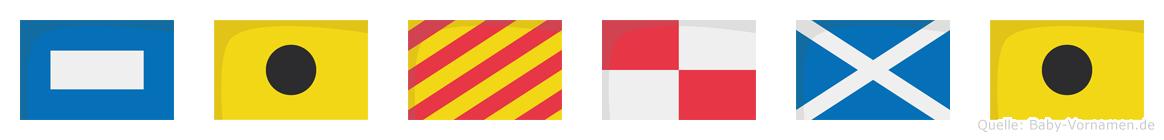 Piyumi im Flaggenalphabet