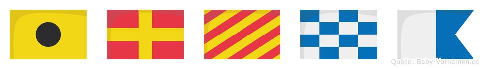 Iryna im Flaggenalphabet