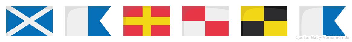 Marula im Flaggenalphabet