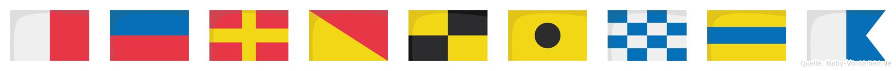 Herolinda im Flaggenalphabet