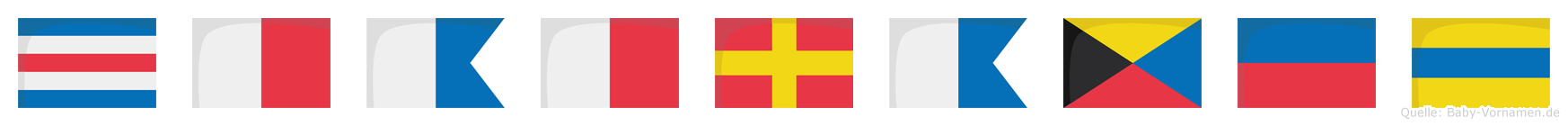 Chahrazed im Flaggenalphabet