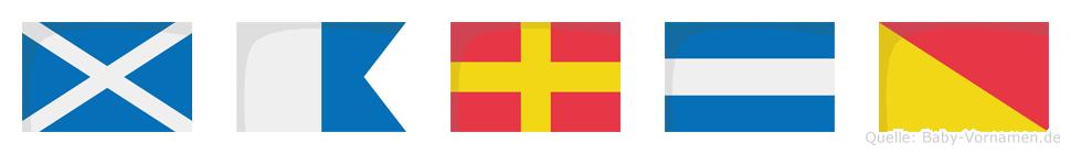 Marjo im Flaggenalphabet