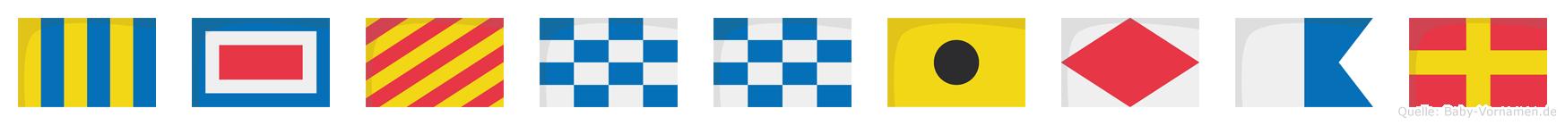 Gwynnifar im Flaggenalphabet
