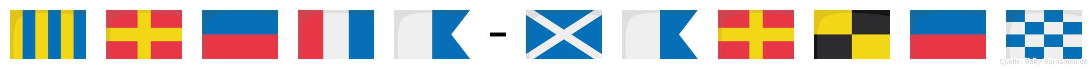 Greta-Marlen im Flaggenalphabet