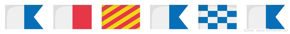 Ahyana im Flaggenalphabet