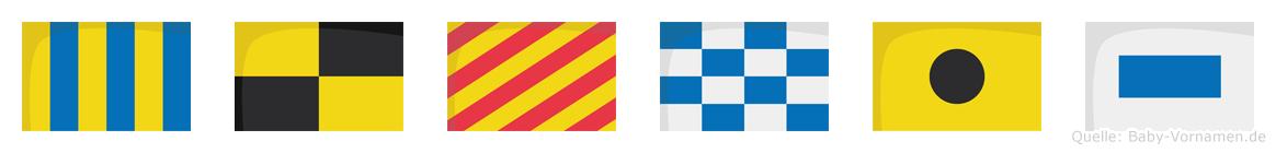 Glynis im Flaggenalphabet