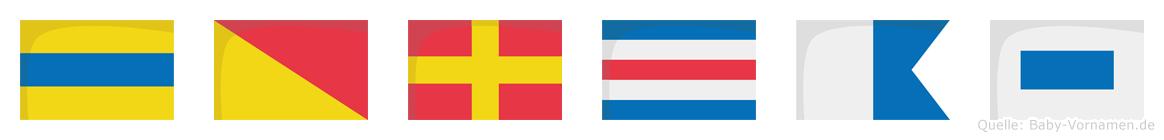 Dorcas im Flaggenalphabet