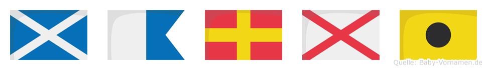 Marvi im Flaggenalphabet