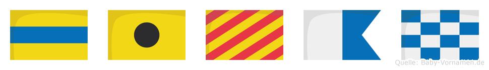 Diyan im Flaggenalphabet