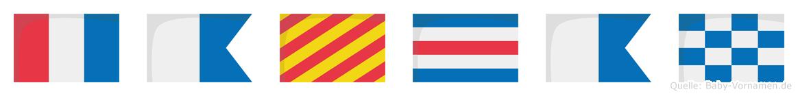 Taycan im Flaggenalphabet