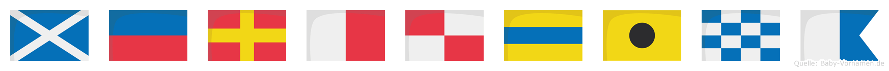 Merhudina im Flaggenalphabet