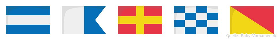 Jarno im Flaggenalphabet