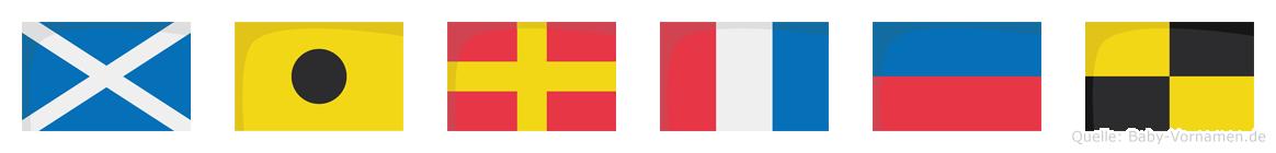 Mirtel im Flaggenalphabet