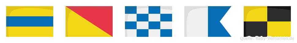 Donal im Flaggenalphabet